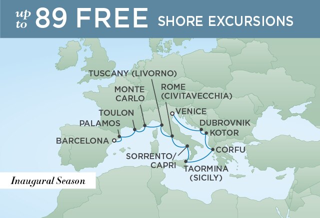 Regent Cruises | 12-Nights from Barcelona to Athens Cruise Iinerary Map