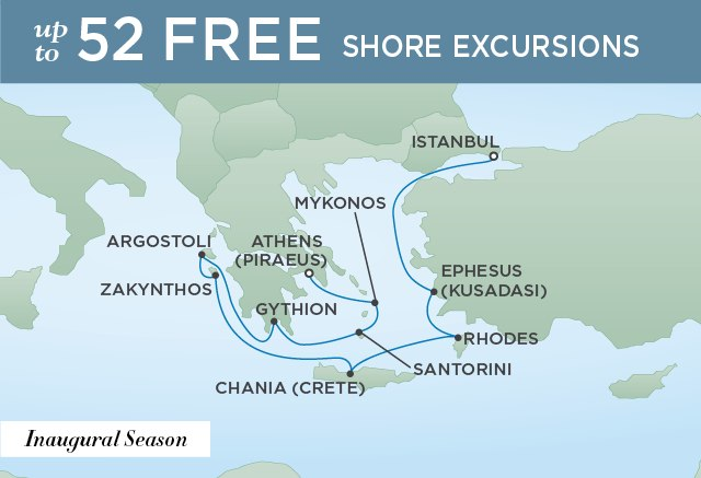 Regent Cruises | 10-Nights from Athens to Istanbul Cruise Iinerary Map