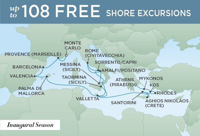 Regent Cruises | 20-Nights from Monte-Carlo to Athens Cruise Iinerary Map