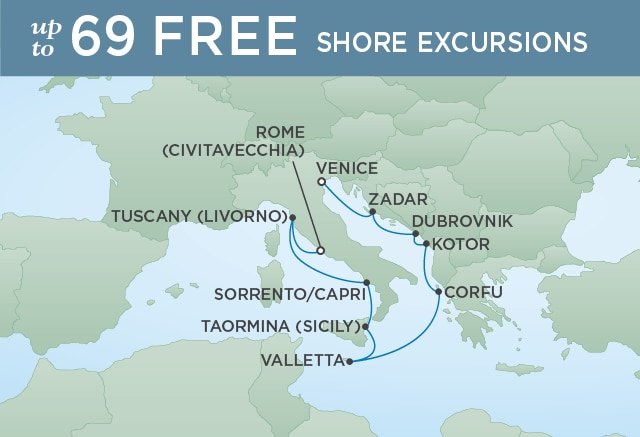 Regent Cruises   10-Nights from Venice to Rome Cruise Iinerary Map