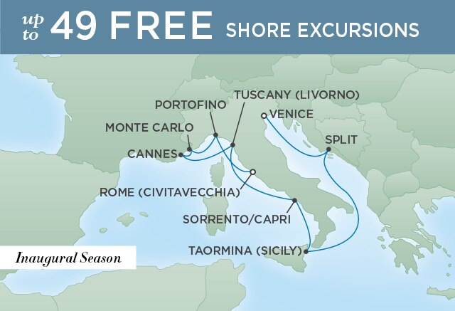 Regent Cruises | 9-Nights Roundtrip from Athens Cruise Iinerary Map