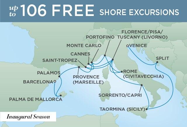 Regent Cruises | 16-Nights from Venice to Barcelona Cruise Iinerary Map