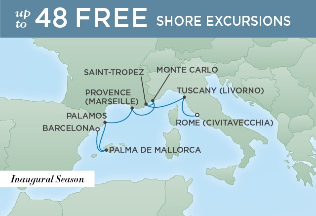Regent Cruises | 7-Nights from Rome to Barcelona Cruise Iinerary Map