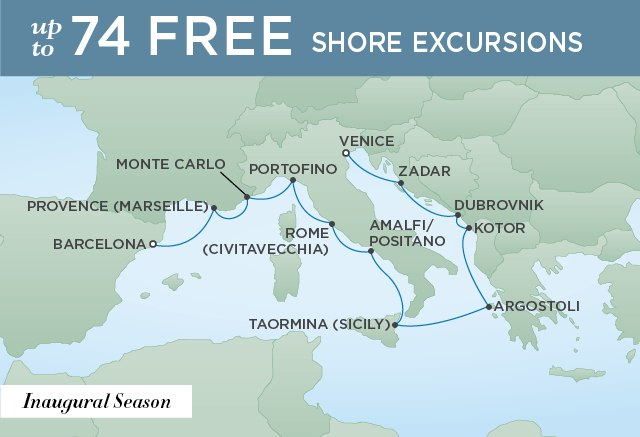 Regent Cruises | 12-Nights from Venice to Barcelona Cruise Iinerary Map