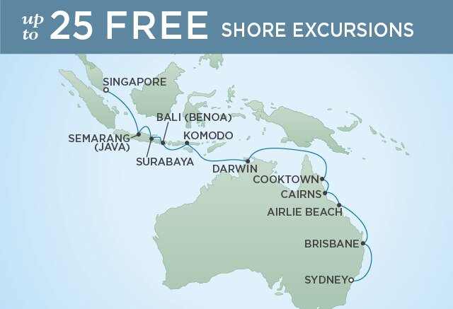 Regent Cruises | 17-Nights from Singapore to Sydney Cruise Iinerary Map