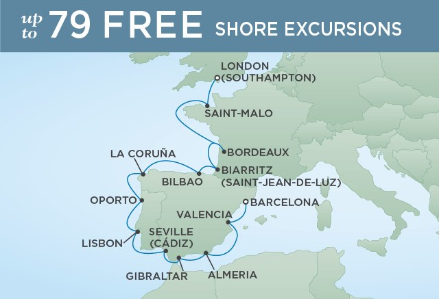 Regent Cruises | 14-Nights from London to Barcelona Cruise Iinerary Map