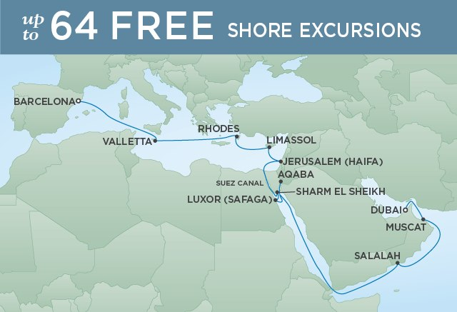 Regent Cruises | 22-Nights from Barcelona to Dubai Cruise Iinerary Map