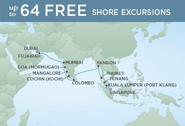 Regent Cruises | 22-Nights from Dubai to Singapore Cruise Iinerary Map