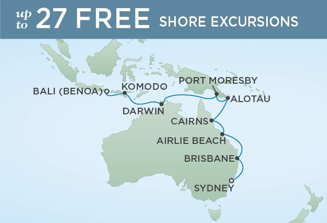 Regent Cruises | 18-Nights from Sydney to Bali Cruise Iinerary Map