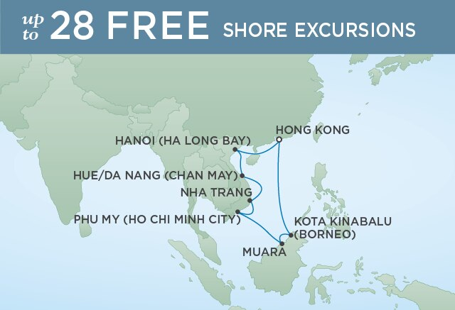 Regent Cruises | 12-Nights Roundtrip from Hong Kong Cruise Iinerary Map