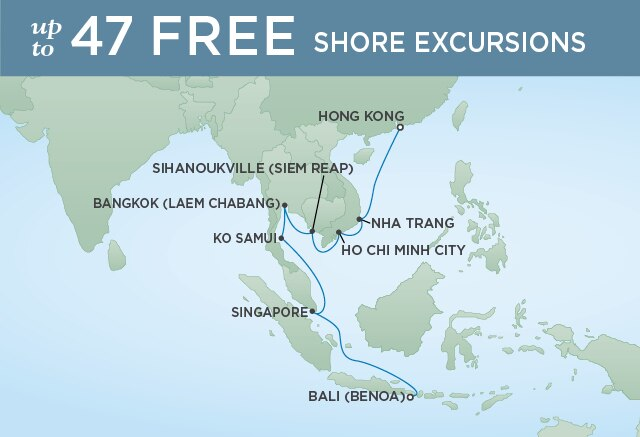 Regent Cruises | 15-Nights from Bali to Hong Kong Cruise Iinerary Map