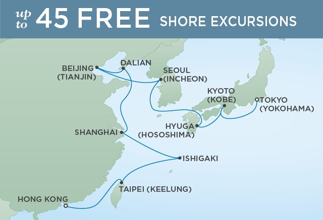 Regent Cruises | 16-Nights from Hong Kong to Tokyo Cruise Iinerary Map