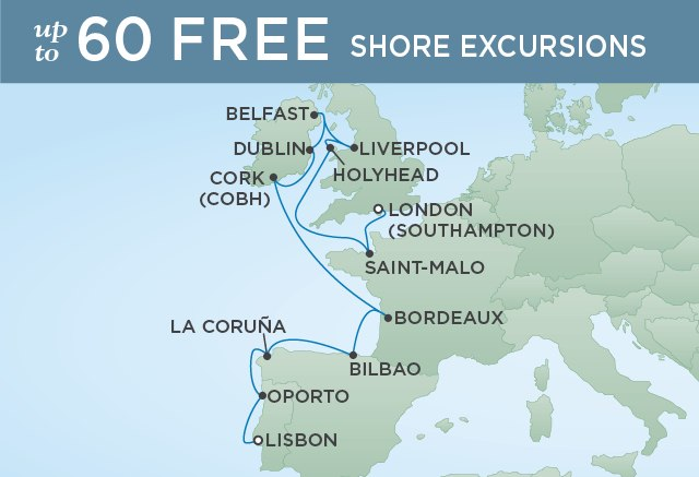Regent Cruises | 14-Nights from Lisbon to London Cruise Iinerary Map