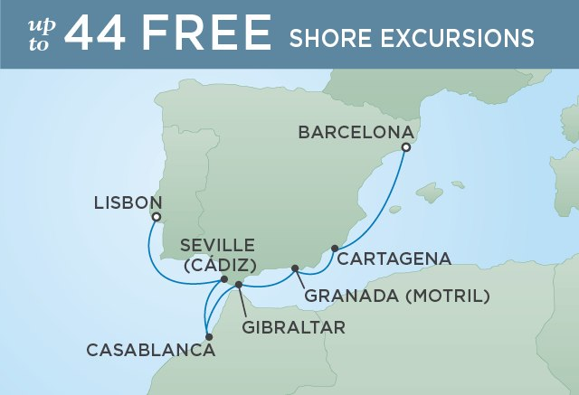 Regent Cruises | 7-Nights from Barcelona to Lisbon Cruise Iinerary Map