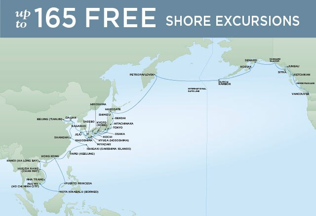Regent Cruises | 61-Nights from Hong Kong to Vancouver Cruise Iinerary Map