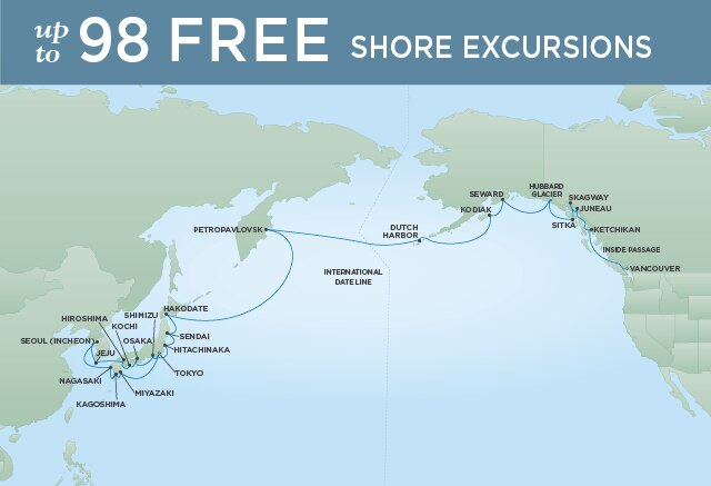 Regent Cruises | 33-Nights from Tokyo to Vancouver Cruise Iinerary Map