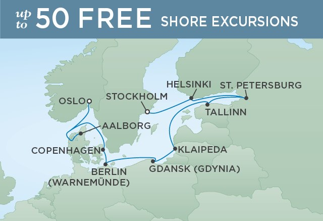 Regent Cruises | 12-Nights from Oslo to Stockholm Cruise Iinerary Map
