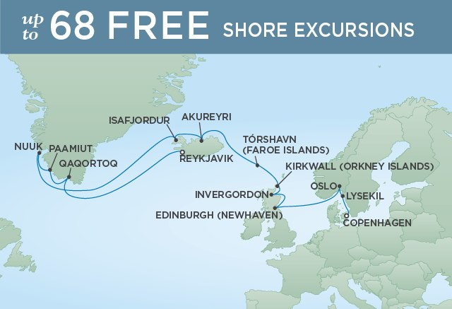 Regent Cruises | 18-Nights from Copenhagen to Reykjavik Cruise Iinerary Map