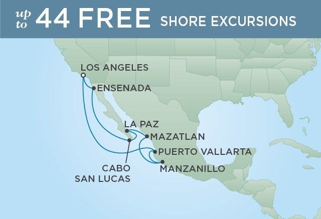Regent Cruises | 10-Nights Roundtrip from Los Angeles Cruise Iinerary Map