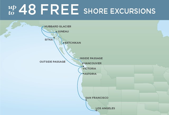 Regent Cruises | 12-Nights from Vancouver to Los Angeles Cruise Iinerary Map