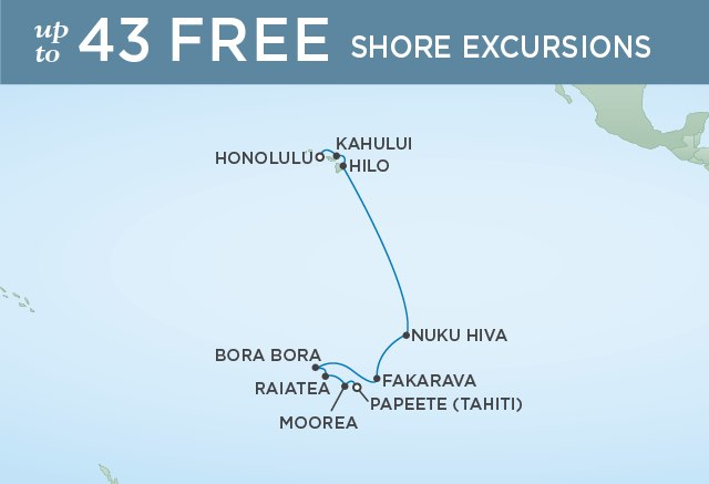 Regent Cruises | 15-Nights from Honolulu to Papeete Cruise Iinerary Map