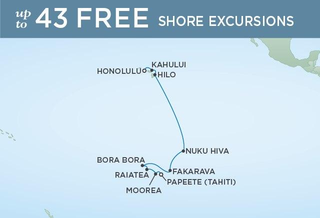 Regent Cruises | 15-Nights from Honolulu to Papeete Cruise Iinerary Map