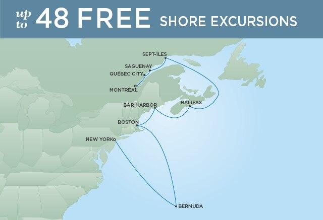 Regent Cruises | 12-Nights from Montreal to New York Cruise Iinerary Map