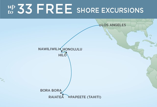 Regent Cruises | 16-Nights from Papeete to Los Angeles Cruise Iinerary Map