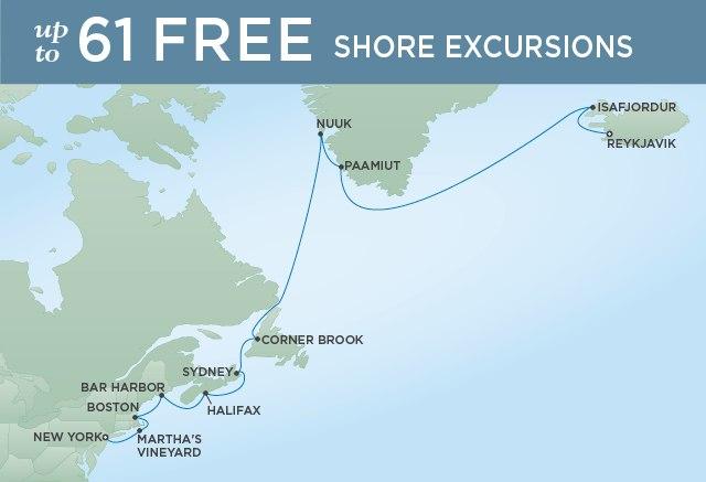 Regent Cruises | 15-Nights from New York to Reykjavik Cruise Iinerary Map