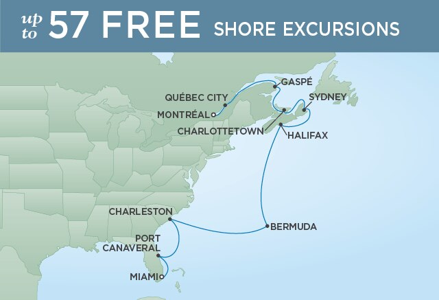 Regent Cruises | 14-Nights from Miami to Montreal Cruise Iinerary Map