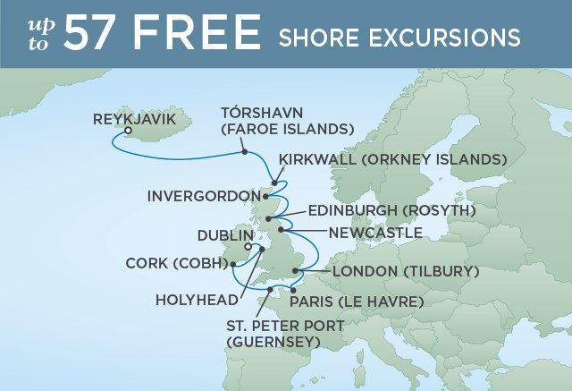 Regent Cruises | 14-Nights from Reykjavik to Dublin Cruise Iinerary Map