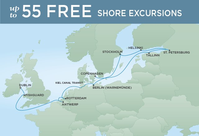Regent Cruises | 14-Nights from Dublin to Copenhagen Cruise Iinerary Map