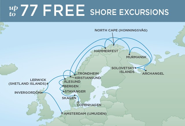 Regent Cruises | 20-Nights from Copenhagen to Amsterdam Cruise Iinerary Map