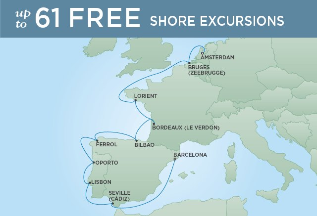 Regent Cruises | 11-Nights from Amsterdam to Barcelona Cruise Iinerary Map
