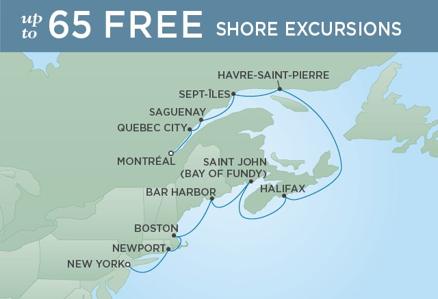Regent Cruises | 12-Nights from New York to Montreal Cruise Iinerary Map