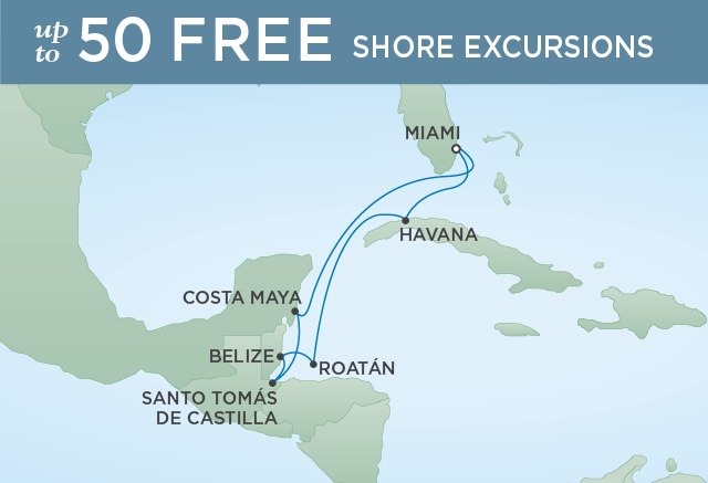 Regent Cruises | 14-Nights from Miami to Barcelona Cruise Iinerary Map