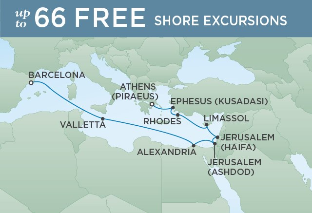 Regent Cruises | 12-Nights from Athens to Barcelona Cruise Iinerary Map
