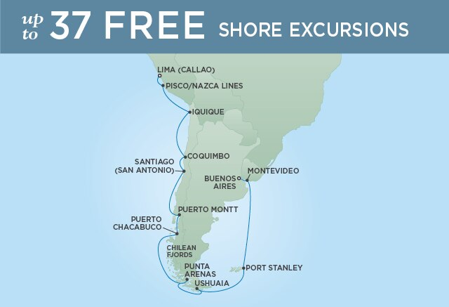 Regent Cruises | 21-Nights from Buenos Aires to Lima Cruise Iinerary Map