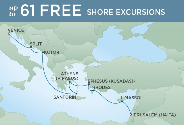 Regent Cruises | 10-Nights from Venice to Jerusalem Cruise Iinerary Map