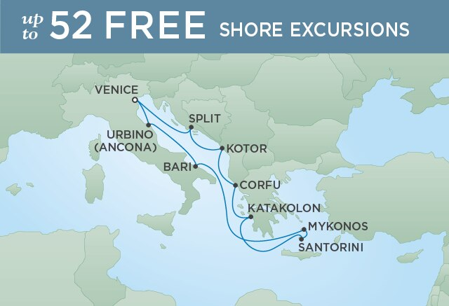Regent Cruises | 10-Nights Roundtrip from Venice Cruise Iinerary Map