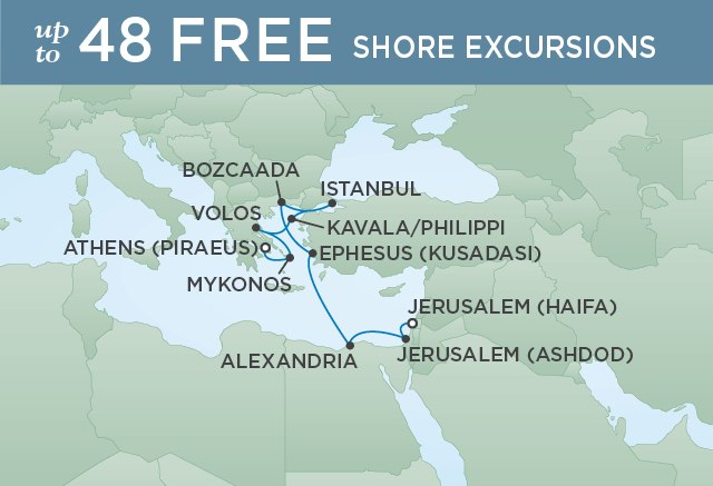 Regent Cruises | 12-Nights from Jerusalem to Athens Cruise Iinerary Map