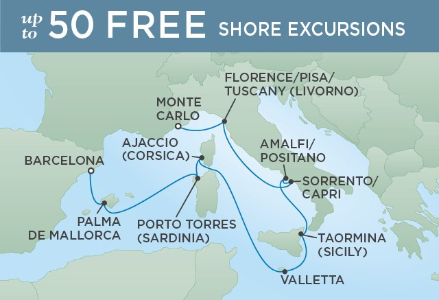 Regent Cruises | 10-Nights from Monte-Carlo to Barcelona Cruise Iinerary Map
