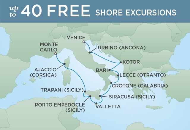 Regent Cruises | 12-Nights from Venice to Monte-Carlo Cruise Iinerary Map