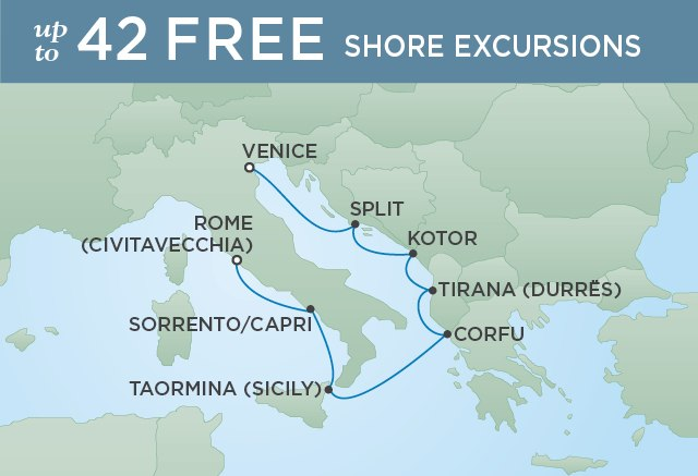 Regent Cruises | 7-Nights from Venice to Rome Cruise Iinerary Map