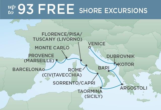 Regent Cruises   12-Nights from Barcelona to Venice Cruise Iinerary Map