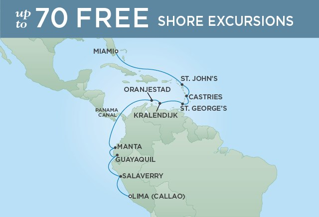 Regent Cruises | 16-Nights from Miami to Lima Cruise Iinerary Map