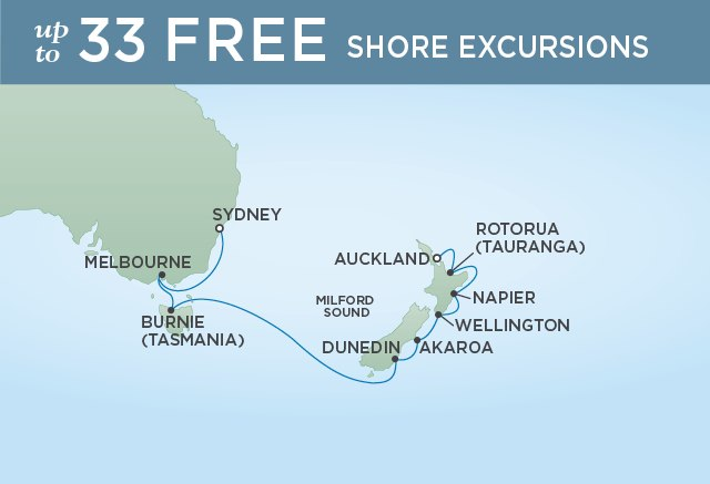 Regent Cruises | 12-Nights from Auckland to Sydney Cruise Iinerary Map