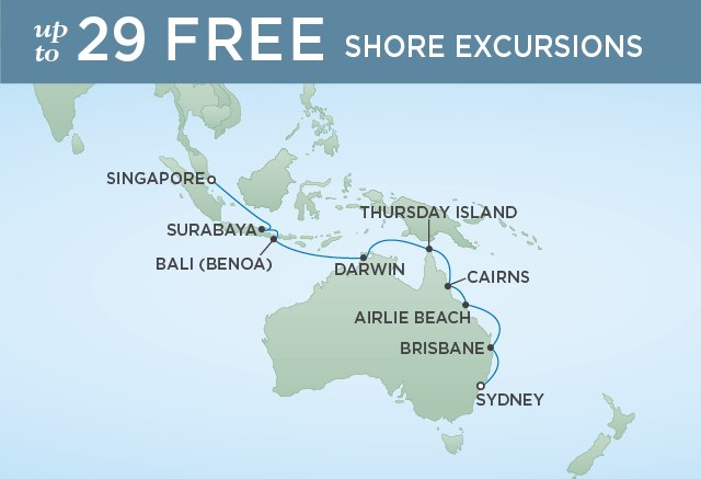 Regent Cruises | 18-Nights from Sydney to Singapore Cruise Iinerary Map