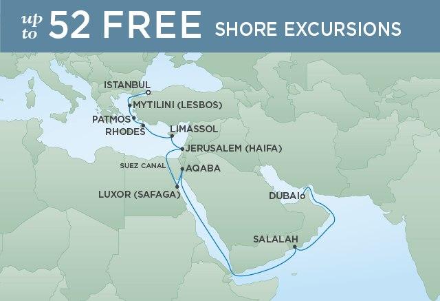 Regent Cruises | 20-Nights from Dubai to Istanbul Cruise Iinerary Map