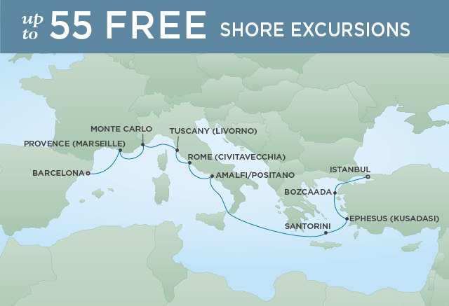 Regent Cruises | 10-Nights from Istanbul to Barcelona Cruise Iinerary Map